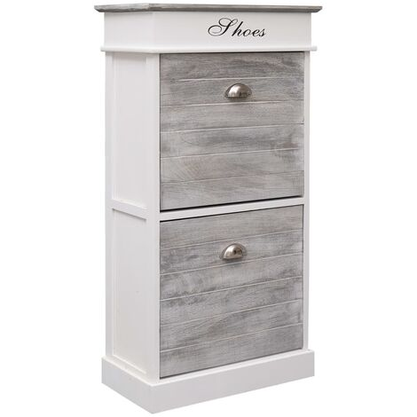 Shoe Cabinet Grey 50x28x98 cm Paulownia Wood