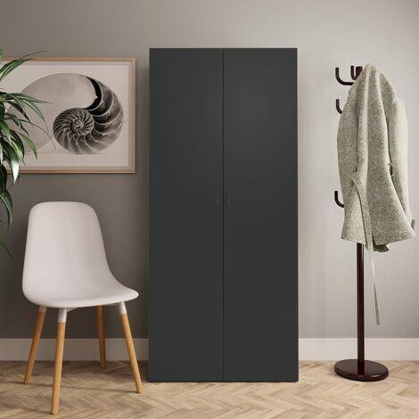 Shoe Cabinet Grey 80x35.5x180 cm Chipboard - Grey