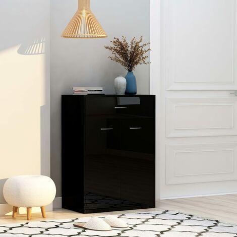 Shoe Cabinet High Gloss Black 60x35x84 cm Chipboard - Black