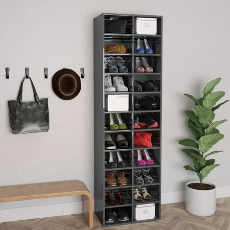 Shoe Cabinet High Gloss Grey 54x34x183 cm Chipboard