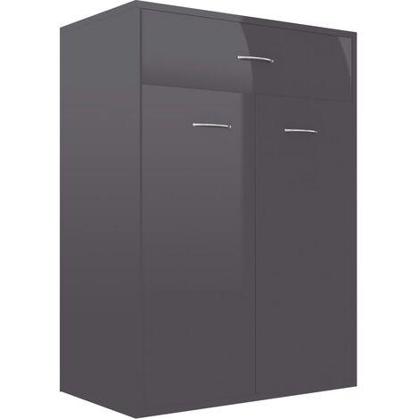 Shoe Cabinet High Gloss Grey 60x35x84 cm Chipboard