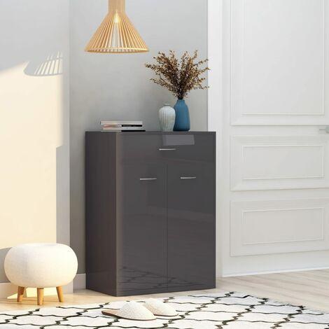 Shoe Cabinet High Gloss Grey 60x35x84 cm Chipboard - Grey
