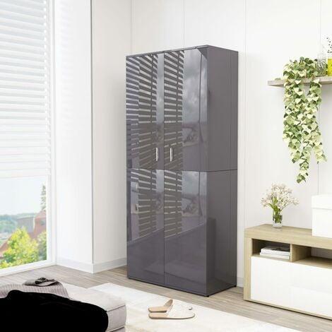 Shoe Cabinet High Gloss Grey 80x39x178 cm Chipboard - Grey