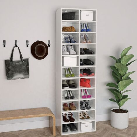 Shoe Cabinet High Gloss White 54x34x183 cm Chipboard