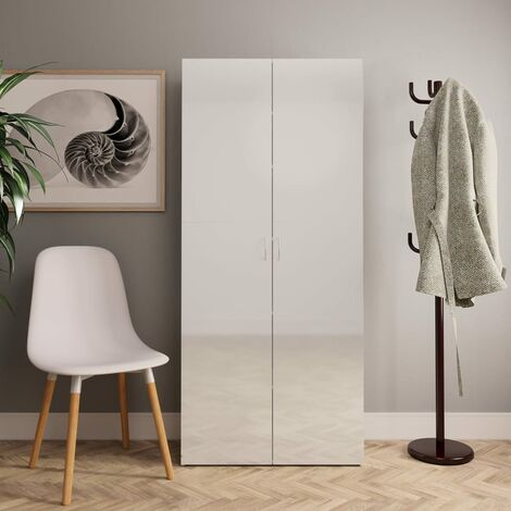 Shoe Cabinet High Gloss White 80x35.5x180 cm Chipboard - White