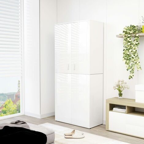 Shoe Cabinet High Gloss White 80x39x178 cm Chipboard