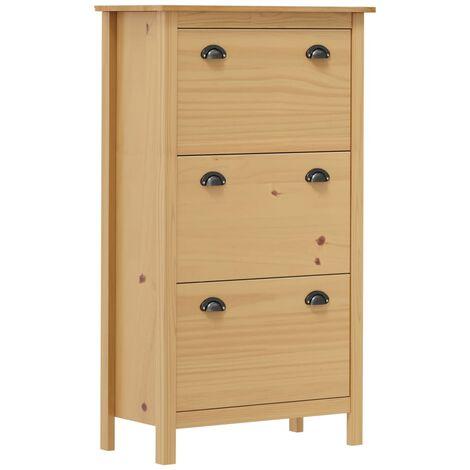 Shoe Cabinet Hill Range Honey Brown 72x35x124cm Solid Pine Wood - Brown