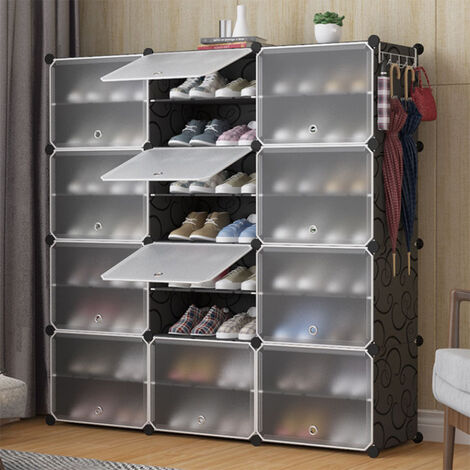 Shoe Cabinet Shoe Rack With Plastic Doors 24 Cubes Easy to Set Up Practical Storage Shelf