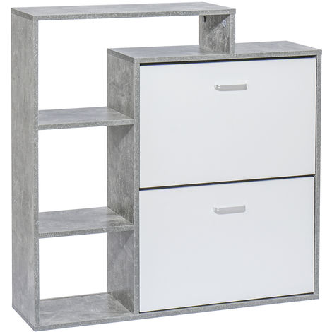 Shoe Cabinet Storage Organizer Footwear Rack With 2 Drawers + 3 Shelves Grey+White