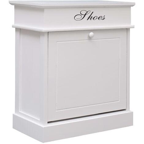 Shoe Cabinet White 50x28x58 cm Paulownia Wood