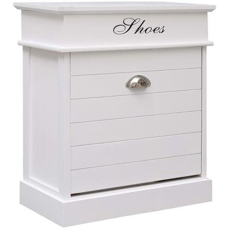 Shoe Cabinet White 50x28x58 cm Paulownia Wood - White