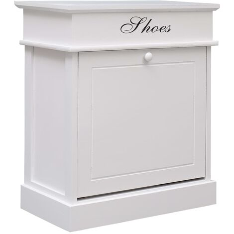 Shoe Cabinet White 50x28x58 cm Paulownia Wood - White