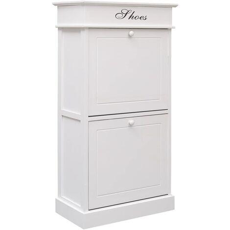 Shoe Cabinet White 50x28x98 cm Paulownia Wood