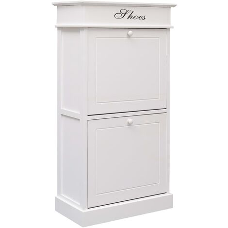Shoe Cabinet White 50x28x98 cm Paulownia Wood - White