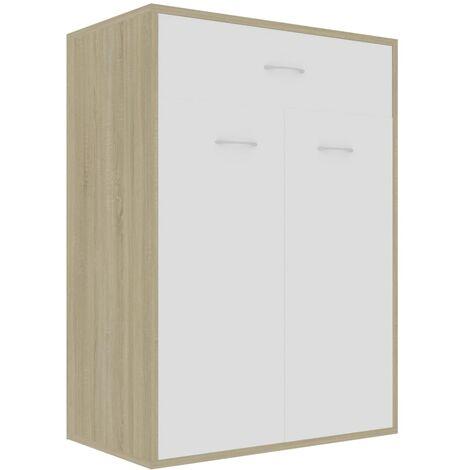 Shoe Cabinet White and Sonoma Oak 60x35x84 cm Chipboard