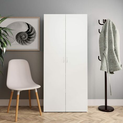 Shoe Cabinet White and Sonoma Oak 80x35.5x180 cm Chipboard
