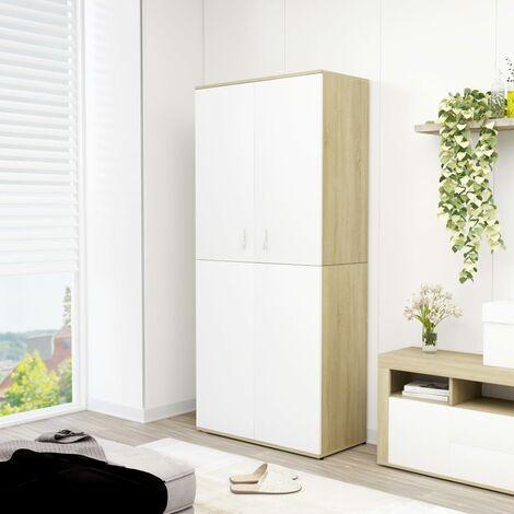 Shoe Cabinet White and Sonoma Oak 80x39x178 cm Chipboard