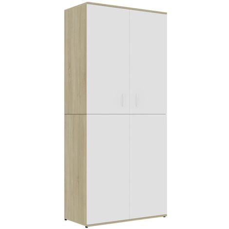 Shoe Cabinet White and Sonoma Oak 80x39x178 cm Chipboard