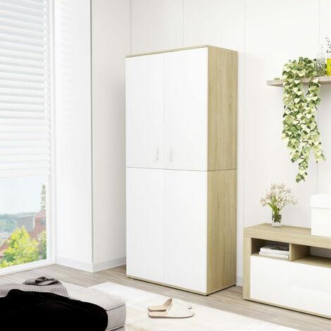 Shoe Cabinet White andSonoma Oak 80x39x178 cm Chipboard
