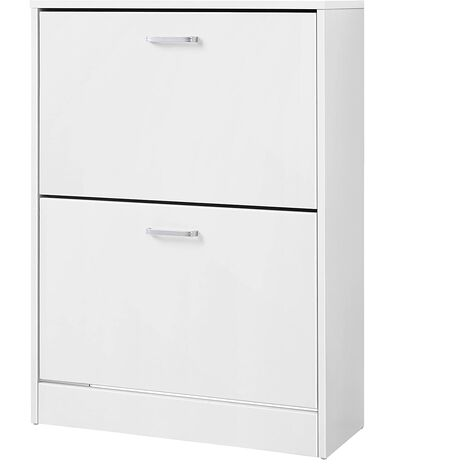 Shoe Cabinet With 2 Flip Doors, Pull Down Shoe Cupboard Unit, For Boots Heels Storage in the Narrow Entryway, 60 x 24 x 83.5cm (W x D x H), White LBC02WT.