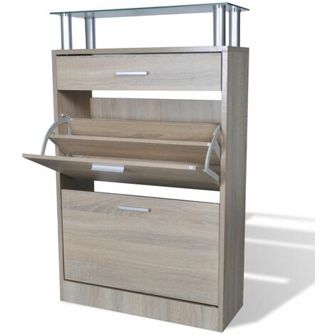 Shoe Cabinet with a Drawer and a Top Glass Shelf Wood Oak Look