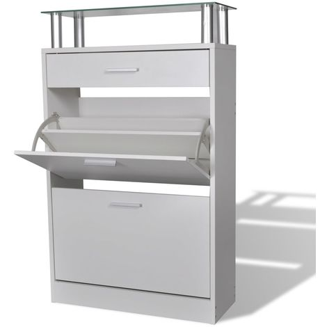 Shoe Cabinet with a Drawer and a Top Glass Shelf Wood White