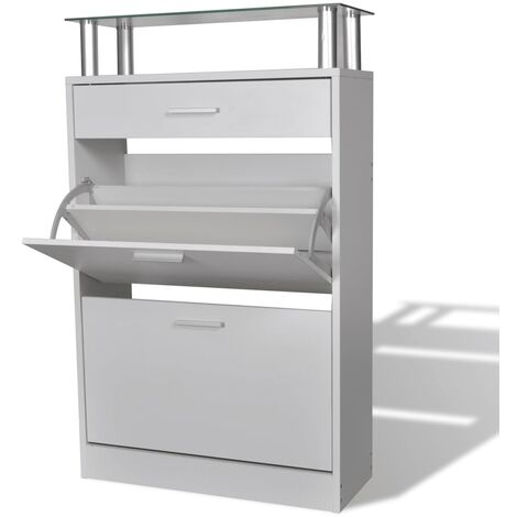 Shoe Cabinet with a Drawer and a Top Glass Shelf Wood White - White