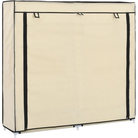 Shoe Cabinet with Cover Cream 115x28x110 cm Fabric