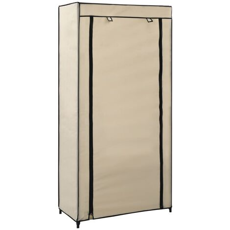 Shoe Cabinet with Cover Cream 58x28x106 cm Fabric