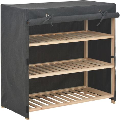 Shoe Cabinet with Cover Grey 79x40x80 cm Fabric - Grey