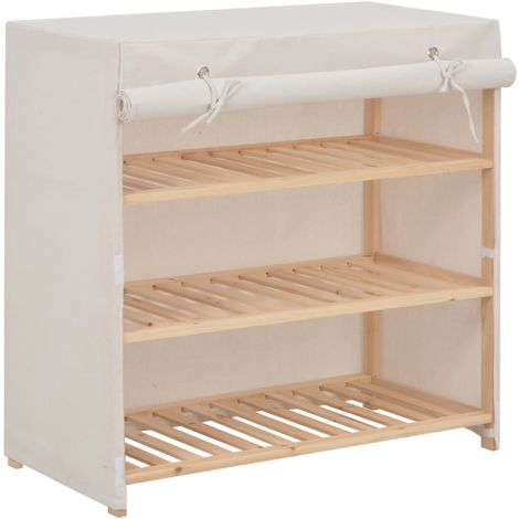 Shoe Cabinet with Cover White 79x40x80 cm Fabric
