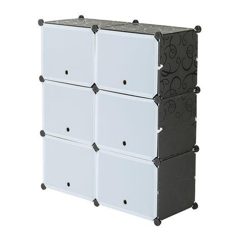 Shoe Rack 5 Tier 10 Grids White Black,Shoe Cabinet Portable Storage Unit for Entryway 80x30x90cm