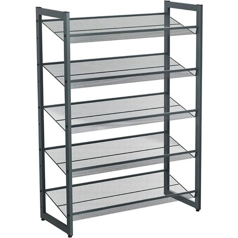 Shoe Rack, 5-Tier Stackable Shoe Storage Shelf, Metal Mesh, Flat or Angled Shoe Organizer for 15 to 20 Pairs of Shoes, Short Boots, High Heels, Cool Grey/Black