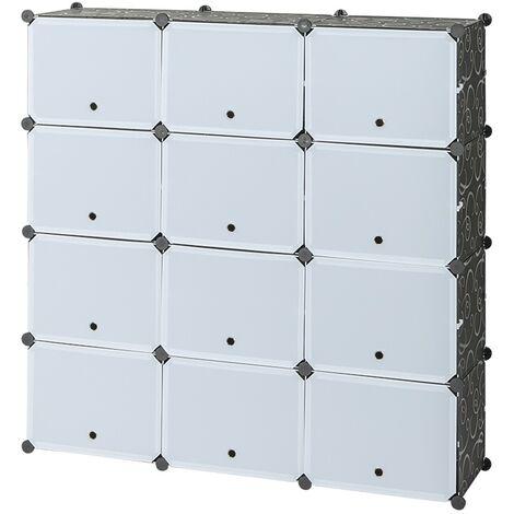 Shoe Rack 7 Tier 14 Grids White Black,Shoe Cabinet Portable Storage Unit for Entryway 120x30x120cm