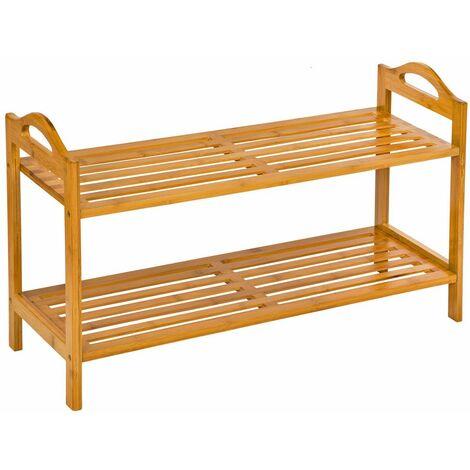 Shoe rack bamboo 2 shelves - shoe shelf, wooden shoe rack, shoe organiser - brown - brown