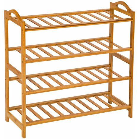 Shoe rack bamboo 4 shelves - shoe shelf, wooden shoe rack, shoe organiser - brown - brown