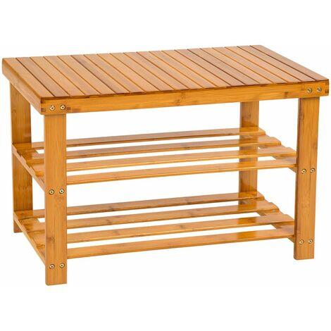 Shoe rack bamboo with bench - shoe bench, shoe shelf, wooden shoe rack - brown - marrón