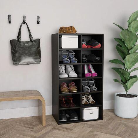 Shoe Rack Black 54x34x100 cm Chipboard - Black