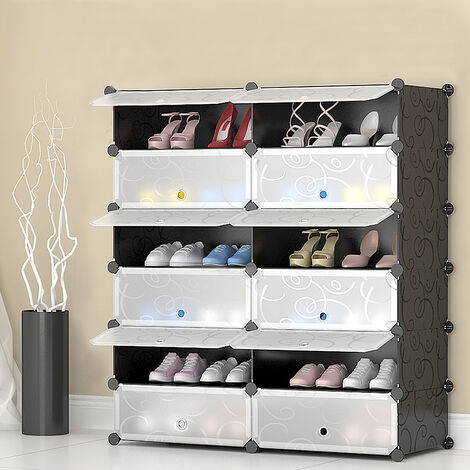 Shoe Rack Furniture Shoe Cabinets With Plastic Doors, 12 Easy to Assemble Lockers, Convenient Storage Shelf