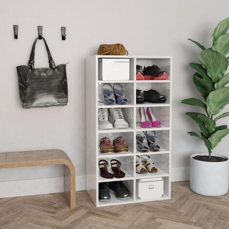 Shoe Rack High Gloss White 54x34x100 cm Chipboard - White