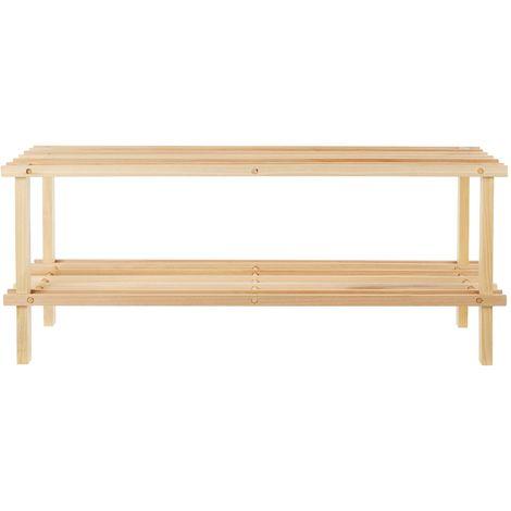Shoe rack, natural/cedar wood, 2 tier