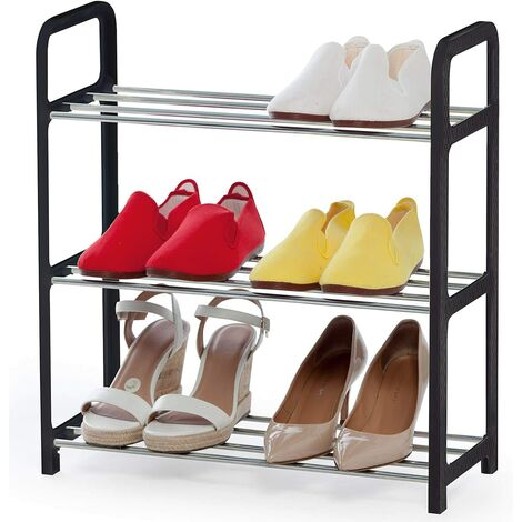 "main image of ""Shoe rack on 3 levels, rust-free, space-saving, shoe rack 3 levels, tubular steel, plastic, black, silver"""