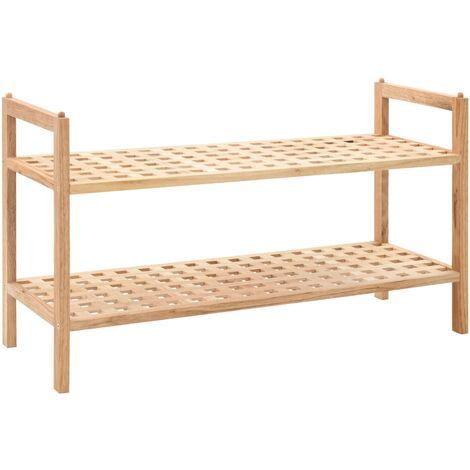 Shoe Rack Solid Walnut Wood 69x26x40 cm