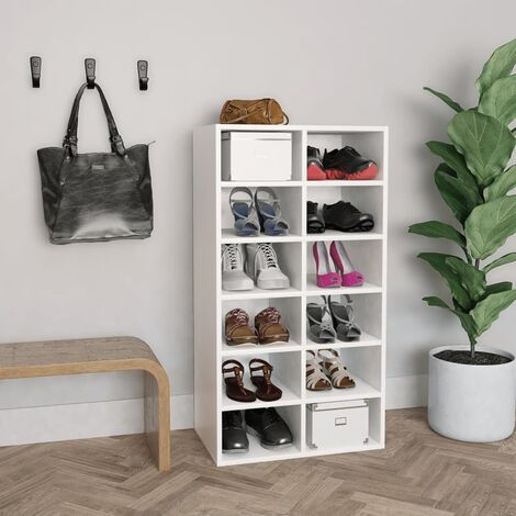 Shoe Rack White 54x34x100 cm Chipboard - White