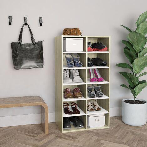 Shoe Rack White and Sonoma Oak 54x34x100 cm Chipboard - Multicolour