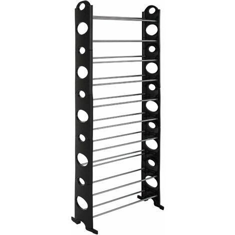 Shoe rack with 10 levels- plastic - shoe shelf, tall shoe rack, shoe organiser - black