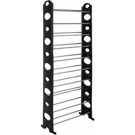 Shoe rack with 10 levels- plastic - shoe shelf, tall shoe rack, shoe organiser - black - black