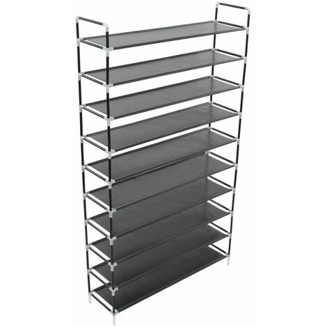 Shoe Rack with 10 Shelves Metal and Non-woven Fabric Black