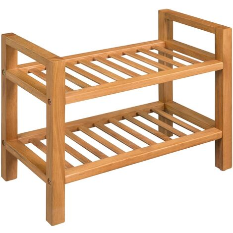 Shoe Rack with 2 Shelves 49.5x27x40 cm Solid Oak Wood