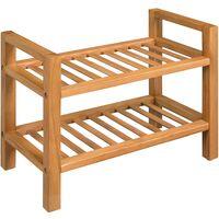 Shoe Rack with 2 Shelves Solid Oak 49.5x27x40 cm